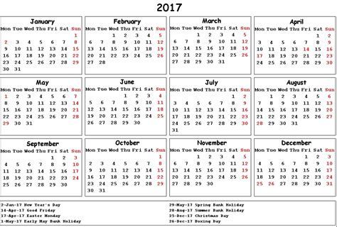 2018 Calendar Uk With Bank Holidays 2017 Calendar Uk Holidays Printable Calendar Templates