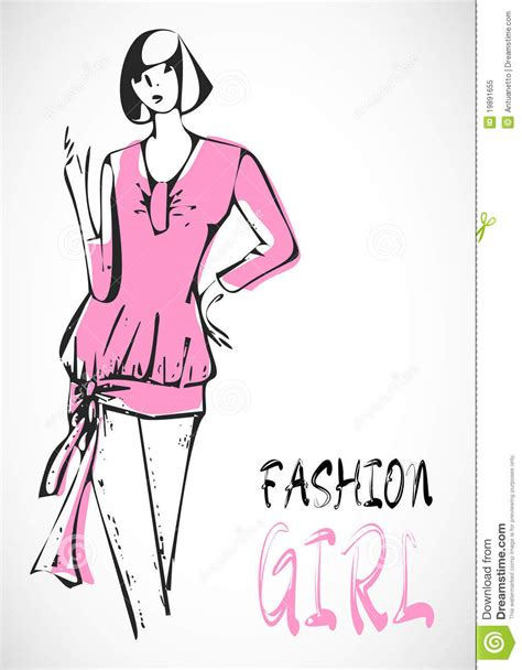 sketchbook vector sketch vector fashion pink stock vector image