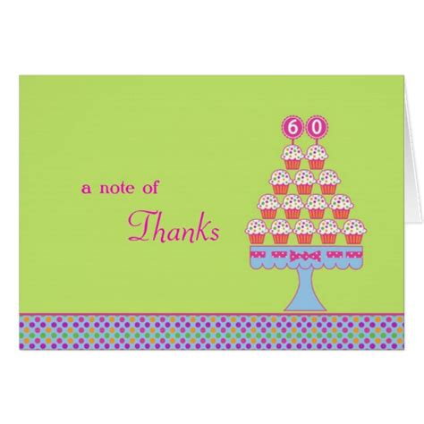 cupcake thank you card template 60th birthday cupcakes thank you card zazzle