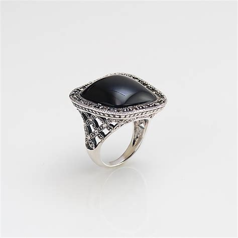 marcasite ring with black onyx