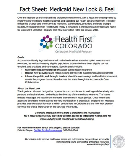 Health Fact Sheet Template fact sheet template 24 free word pdf documents
