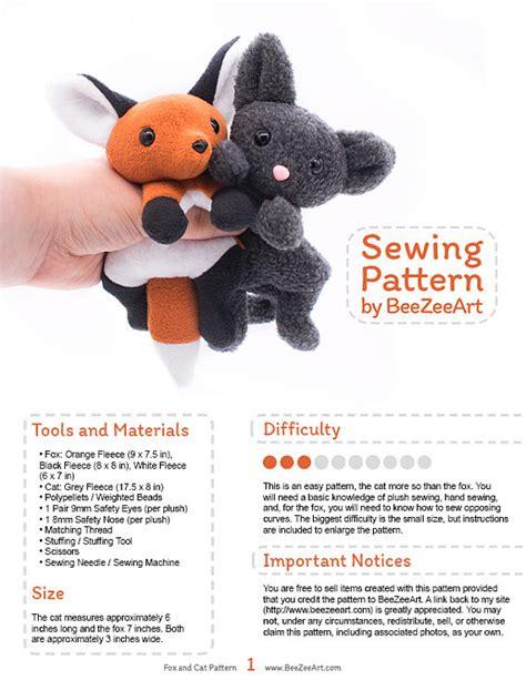sock animal pattern book fox and cat stuffed animal sewing pattern plush pattern