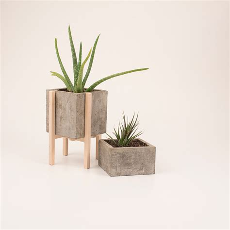 design milk concrete modern concrete wood planters design milk