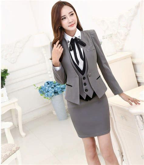 Vest Set Blazer Dress Skirt plus size autumn winter formal professional business suits