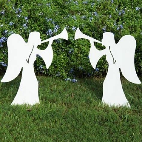 outdoor large 2 christmas angels with trumpets made in usa