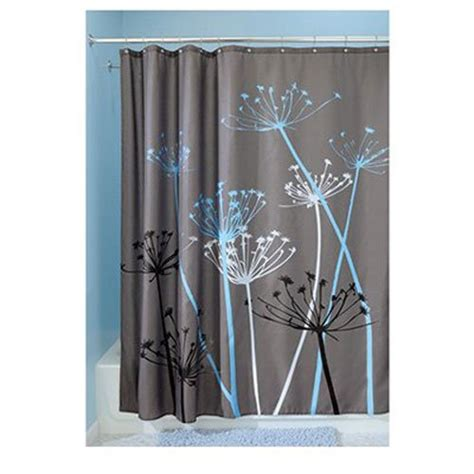 graphic shower curtain hookless shower curtain blue bathroom decor graphic floral