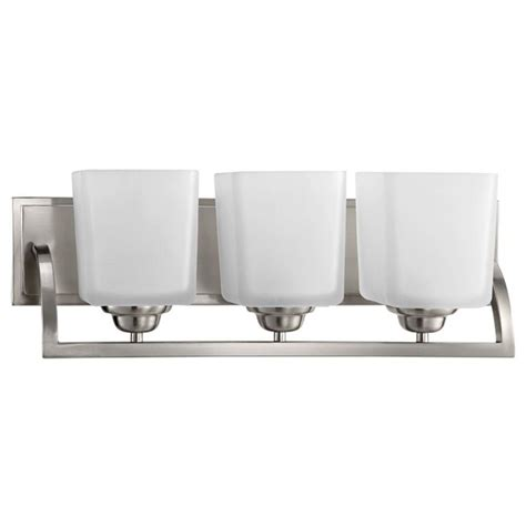 hton bay bathroom light fixtures hton bay cankton 3 light brushed nickel bath vanity