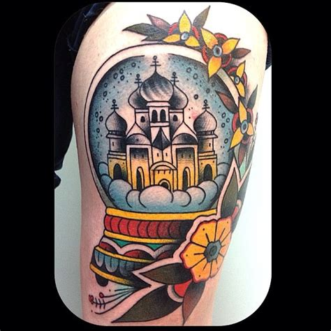 traditional globe tattoo snow globe traditional