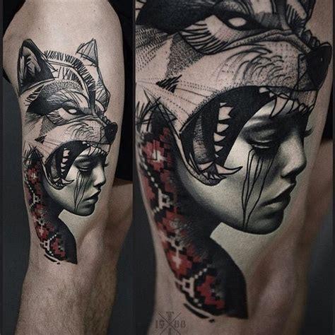 tattoo girl wolf indian girl wolf tattoo google suche pinteres