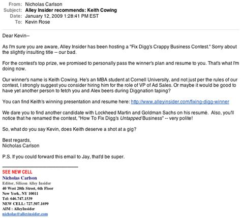 Sweepstakes Winner Letter - our email to kevin rose announcing the fix digg contest winner business insider