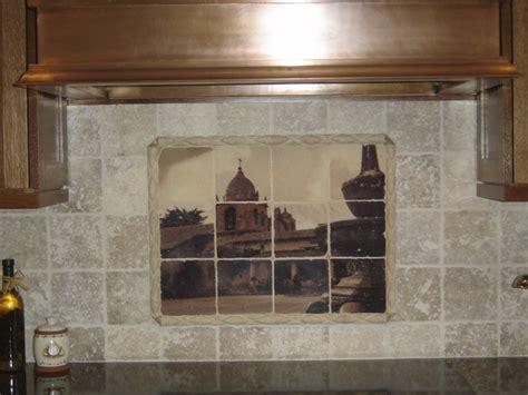 tile murals in small spaces mediterranean kitchen custom tile mural on tumbled marble tiles mediterranean
