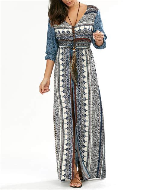 Bohemia Dress empire waist button flowy bohemian maxi dress
