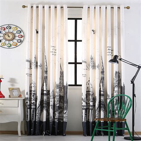 blackout curtains boys room 3d printed city building curtains for living modern