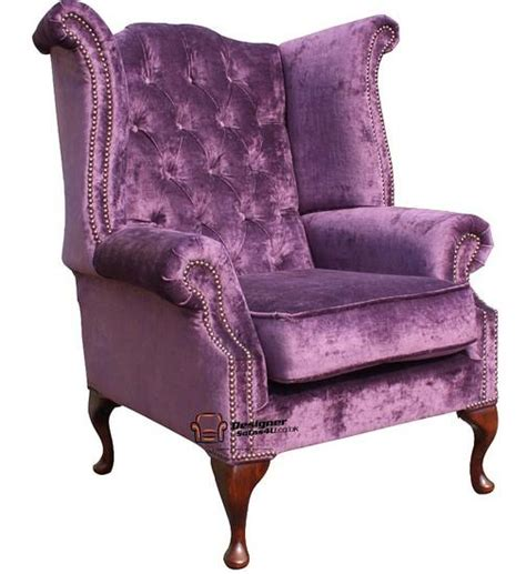 purple high back wing chair chesterfield high back wing chair elegance