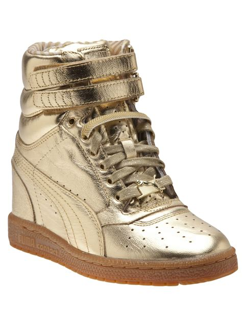 metallic sneakers lyst sky wedge sneaker in metallic