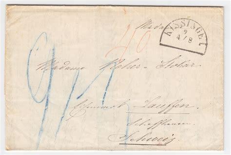 Porto Brief Schweiz Luftpost Bayern 1857 Hks Kissingen Auf Porto Brief In Die Schweiz 2033 183 Heiner Zinoni