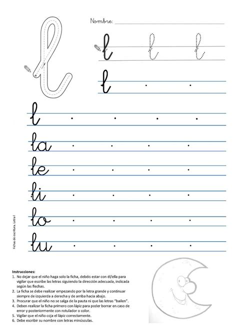 primeros ejercicios de escritura 8498257093 caligrafia letra l luna lectoescritura caligraf 237 a letras y lenguaje