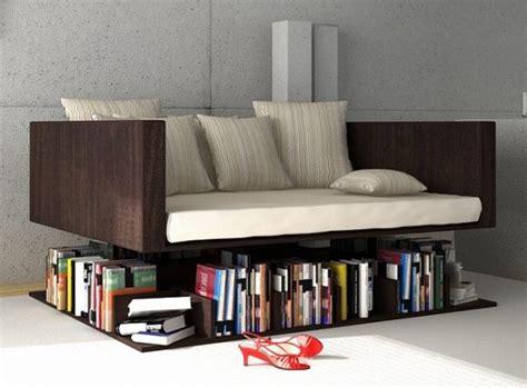 uncommon bookcase featuring a levitating sofa freshome