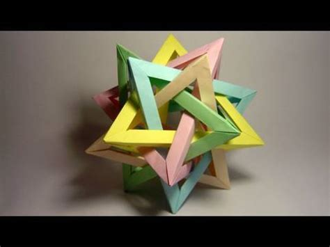 Tetrahedra Origami - origami five intersecting tetrahedra complete assembly