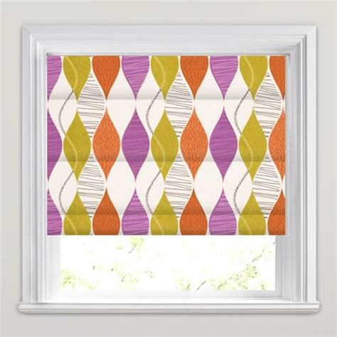 brown patterned roman blinds funky amethyst orange brown beige retro patterned