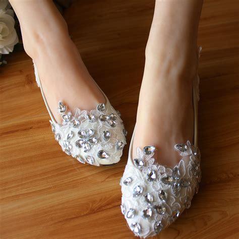 bridal shoes flats rhinestones plus size rhinestone white flat wedding shoes flats lace