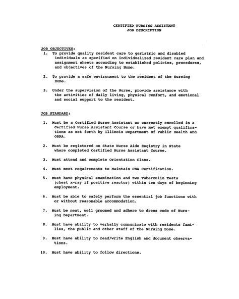 CNA List of Duties Checklist cna job description for resume
