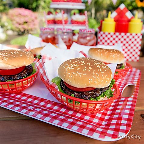 backyard burger location outdoor bbq burger serving idea gingham picnic food and