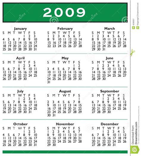 Calendario Z 2009 Calendar Year Royalty Free Stock Photography
