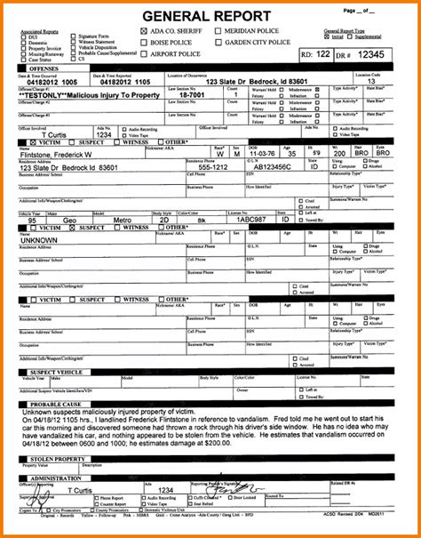 5 fake police report template expense report
