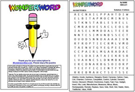 printable wonderword puzzle order a e book