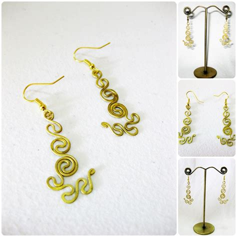 Handmade Jewelry Thailand - brass dangle earrings swirl whorl designs handmade jewelry