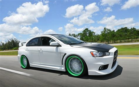 white mitsubishi sports car mitsubishi lancer custom body kit image 81