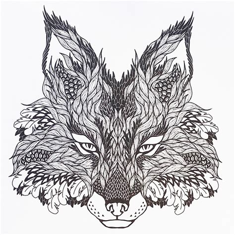 coloring pages for adults fox an awesome looking fox design from designs a
