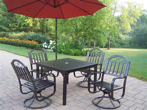 Outdoor Patio Dining Sets With Umbrella Oakland Living 6 Pc Swivel Patio Dining Set W 40x40 Quot Table Swivel Chairs Cantilever Umbrella