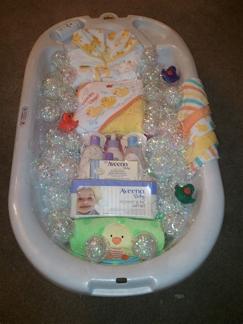 Bathtub Baby Shower bath time gift basket for baby shower wrapped with