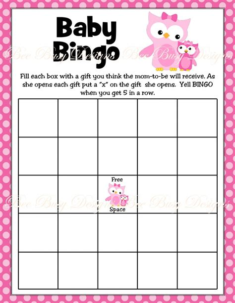 bingo baby shower card template free printable pink with owl woodland baby shower