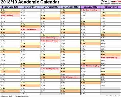 academic calendars printable excel templates