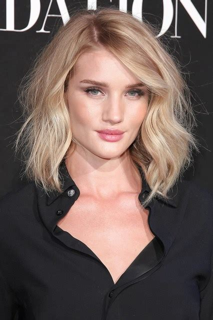 rosie huntington side parted lob bob hairstyles 2015 celebrity trends ideas glamour
