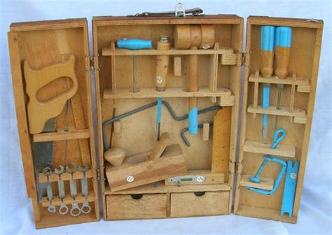 vintage childrens child   tool set  dove tailed