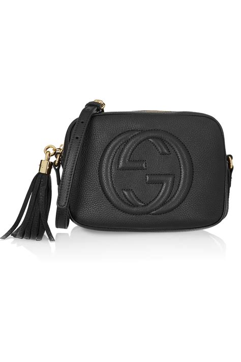 gucci soho disco textured leather shoulder bag in black lyst