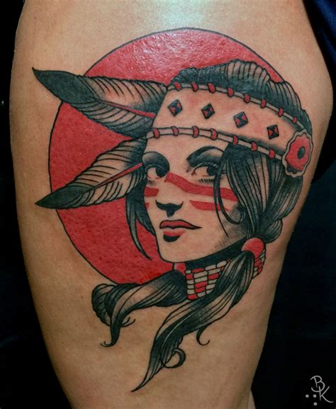 tattoo girl traditional briankelly indian girl indian girl native tattoo