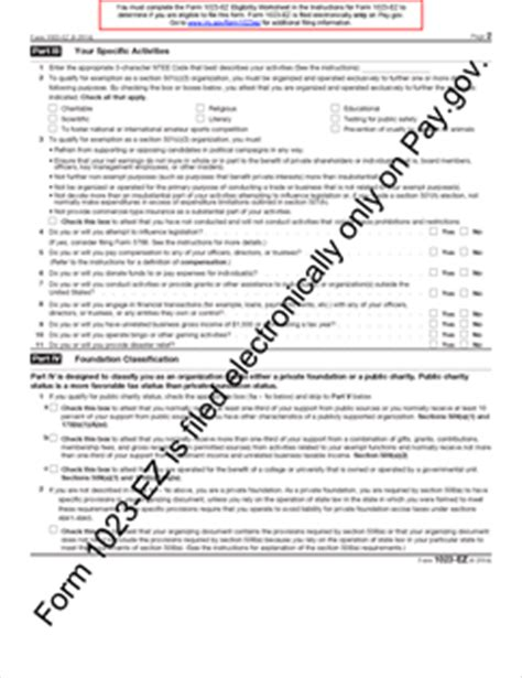irc section 501 c 3 form 1023 ez fillable streamlined application for