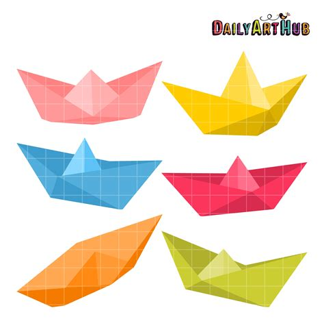 clipart paper boat paper boats clip art set daily art hub