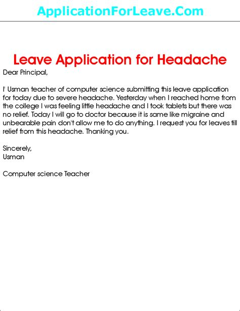 College Leave Letter To Principal Leave Application For Headache To Principal