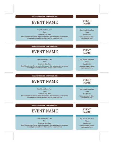 event ticket layout event tickets templates office com fundraising ideas