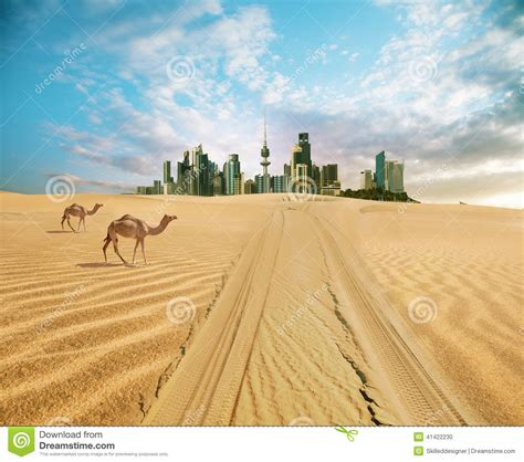 To Do Time In The Desert by Cityscape Of Kuwait In Summer Time Stock Photo Image Of