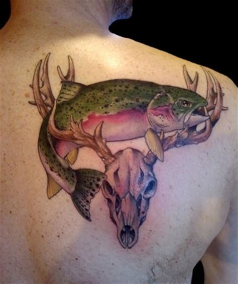 3d tattoo of mouth on head buck skull and trout by john fitz at slave to the needle