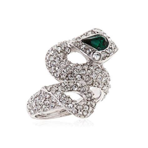 silver emerald snake ring by kenneth