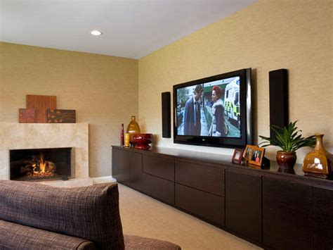 Living Room Media Wall Units This Low Profile Transitional Style Living Room Wall