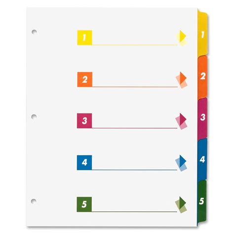 Sparco Table Of Contents Color Index Dividers Ld Products Index Divider Template